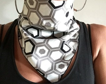 Bandana // White and Grey Honeycomb // Summer // Music Festival // Dust Mask // Handkerchief