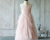 2016 Junior Bridesmaid dress, Blush Pink Flower Girl dress Ruffle, Spaghetti Strap Prom dress, Girl Cocktail dress,  Maxi dress (JK012)-RENZ