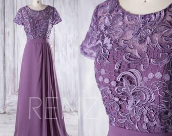 2016 Purple Chiffon Bridesmaid Dress, Sweetheart Lace Illusion Wedding Dress, Cap Sleeve Prom Dress, A Line Evening Gown Floor Length(T160B)