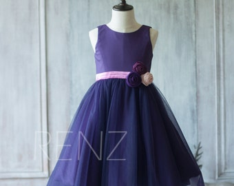 2016 Purple Junior Bridesmaid Dress, Flower Girl Dress, Rosette dress, Puffy dress (LK062)