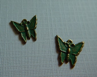 Brass Oxidized Green Patina Victorian Butterfly One Sided Charm Pendant Stamping