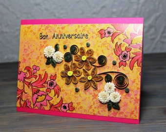 Birthday card - anniversary - quilled card - daisies and pompons - paper quilling - french