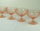 Vintage PINK DEPRESSION SHERBET Vaseline Dessert Glasses Set/4 tiny Hobnail Stripe Glows