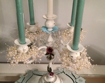 Wedding shabby chic, ornate metal white distressed 5 candle candelabra with AsFour crystal prisms