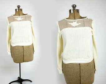 SUMMER CLEARANCE SALE Vintage 1980s Cream Pointelle Floral Lace Bib Collar Flannel Ruffle Sweater Size S