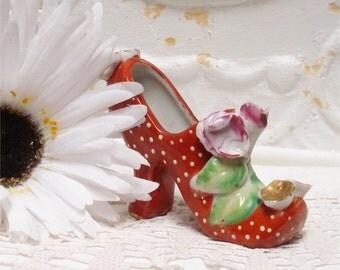 Vintage Kitschy Rust Polka Dot Shoe Japan 4 Inch