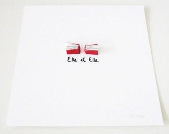 Red Book Art - Elle et Elle (Her & Her) - Original Artwork, leather, urban chic, elegant, romantic, lesbian couple, French text, love, 8x8
