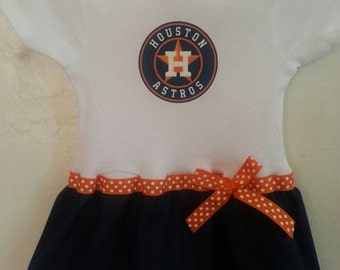 Houston Astros inspired baby girl outfit
