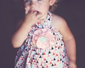 Tribal Gold Baby Bubble with Detachable Pink & Gold Flower, Halter Back