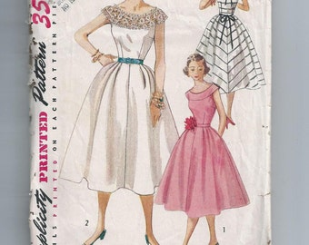 Vintage 1950s Dress Sewing Pattern Bust 30 Simplicity 4328 Cocktail Dress Party
