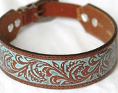 "Tooled Leather Dog Collar, Brown with Turquoise Inlaid Color.  Western Leather Dog Collar , 17"" inches to 19"" inches OOAK"