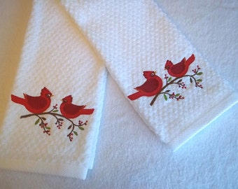 Cardinal & Holly Berry  Christmas Kitchen Towel