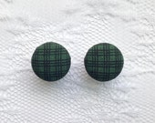 """Plaid Green and Black Fall Fabric Button Covered Plugs Gauges Size: 00g (10mm), 1/2"""" (12mm), 9/16"""" (14mm), 5/8"""" (16mm)"""