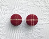 """Plaid Red and Off White Cream Fall Fabric Button Covered Plugs Gauges Size: 00g (10mm), 1/2"""" (12mm), 9/16"""" (14mm), 5/8"""" (16mm)"""