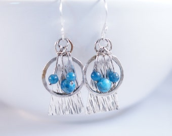 Blue Agate and Apatite Dangles