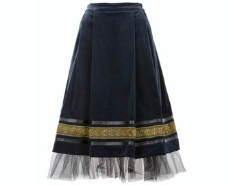 ANCA skirt - velvet skirt with golden embroidery, leather stripe and tulle, folk inspired skirt (S-XXL)