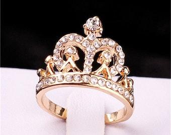 Ring, tiara ring, crown ring , 18k gold plated tiara ring, crown ring, ring with crystals, princess ring, sizes 7, 8, 9