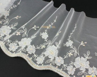 Terylene Lace Trim White Tulle Lace Trim Floral Embroidery Lace Trim 20cm Width -- 2 Yards (LACE269)