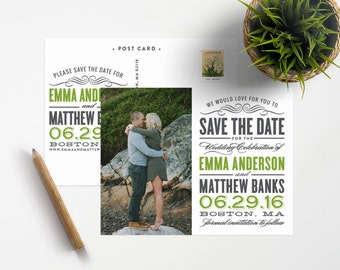 Old Fashioned Save the Date Photo Postcard