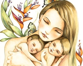 Mother and twins art print
