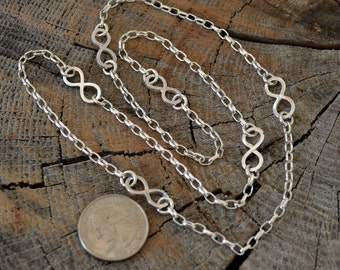 Sterling silver infinity necklace.  24 inch long handmade silver infinity links.