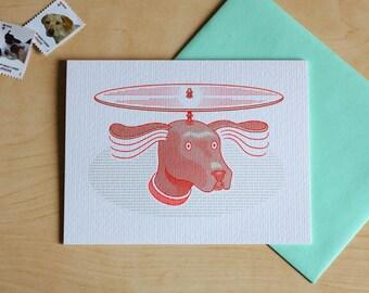 Heli-Dog Letterpress Card
