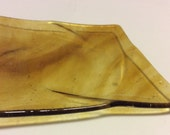 """TWISTED COFFEE & AMBER 4"""" Plate Fused Glass Decorative Twisted Candy Dish"""