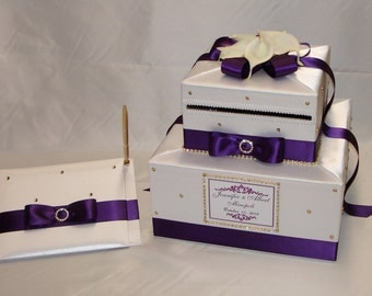 White Card Box/Guest Book with eggplant purple ribbon-White Calla Lilies-Gold rhinestones