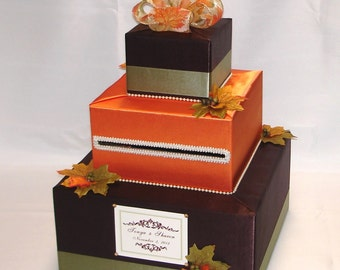 Fall/Autumn theme Wedding Card Box-Fal leaves-any colors