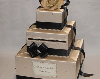 Champagne and  Black Wedding Card Box-Rhinestone accents