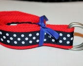 Womens Ribbon Belt Navy Dot Belt Red D Ring Ladies Navy Polka Dot Belt Ribbon D Ring Belt Ladies Plus Size Preppy Womens Belt Teen Girl belt