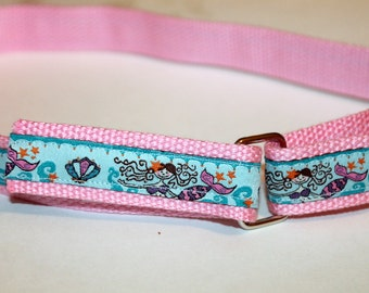 Girls Mermaid Velcro D Ring Belt Mermaid Velcro belt Girls Mermaid Belt Pink Velcro Belt Pink Girls BElt Toddler Belt Beach Party Mermaids