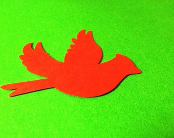 24 RED CARDINAL die cuts hand punched  2  inches  wide and 1 1/2 tall Christmas, nature