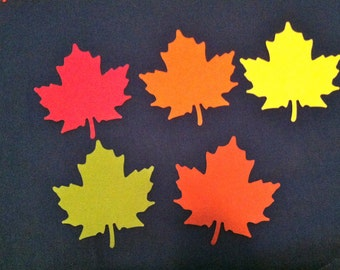 Fall COLORS 900 pcs  Maple leaf , red, green, rust, orange and yellow die cuts, 2 and1 fourth inch in size Hand punched