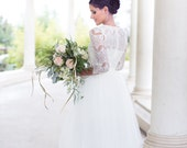 Ready To Ship - Lace wedding dress, Long Tulle Skirt, Bride Tulle Skirt,Tulle Skirt, 2 piece wedding dress, 2 in 1 wedding dress,