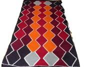 Turkish Wool Kilim rug,area rug,claret red kilim rug,orange rug,crochet rug,bohemian rug,handmade rug,rug,rugs,madder rug,sheep wool rug