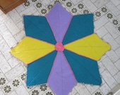 Vintage Rug Yellow, Blue, Purple,Area Rugs/Floor Rugs/Large Rugs/Handmade Rug/Carpet Knitting Rug Star round rug,42'' (107 cm) READY to SHIP
