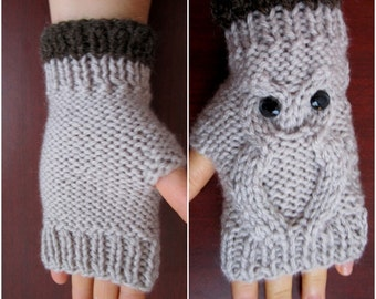 Owl Fingerless Mitts, Owl Fingerless Gloves, Qwl Hand Warmer, Grey Gloves, Xmas Gift Idea, Winter Gift, Gift For Her, Animals, Qwl Lovers