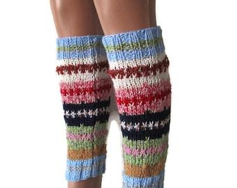 Knit Leg Warmers, Women's Leg Warmers, Knitted Leg Warmers, Festival Leg Warmers, Colorful Leg Warmers, Striped Leg Warmers