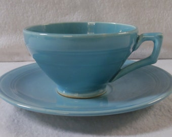 Vernon Kilns Teacup Turquoise Early California Angular Cup & Saucer