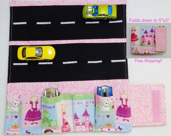 Princess Print fabric Car Wallet/ Car roll up/Toy car holder/ Free Shipping/ Ready to ship.