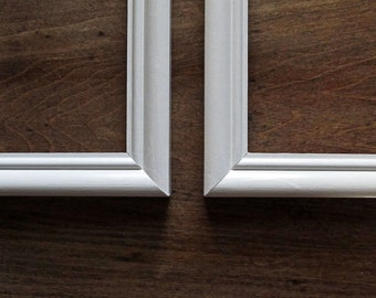 2 white frames - pair of matching white handpainted picture frames
