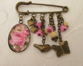 Kilt pin brooch - pink roses, butterfly bird, retro bronze cream beads