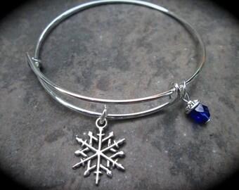 Snowflake adjustable wire bangle bracelet Holiday Gift with Blue Czech Glass dangle charm Hanukkah or Christmas bracelet