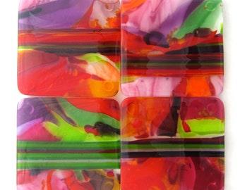 Set of 4 Fused Glass Coasters - Zinnia Garden