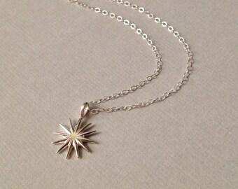 Sunburst Necklace in Sterling Silver -Starburst  Necklace in Sterling Silver