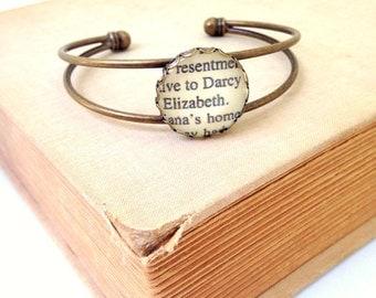 Pride and Prejudice Bracelet. Darcy & Elizabeth Cuff Bracelet. Hendersweet Brass Cuff.