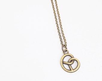 Brass Pretzel Necklace. Simple Necklace.