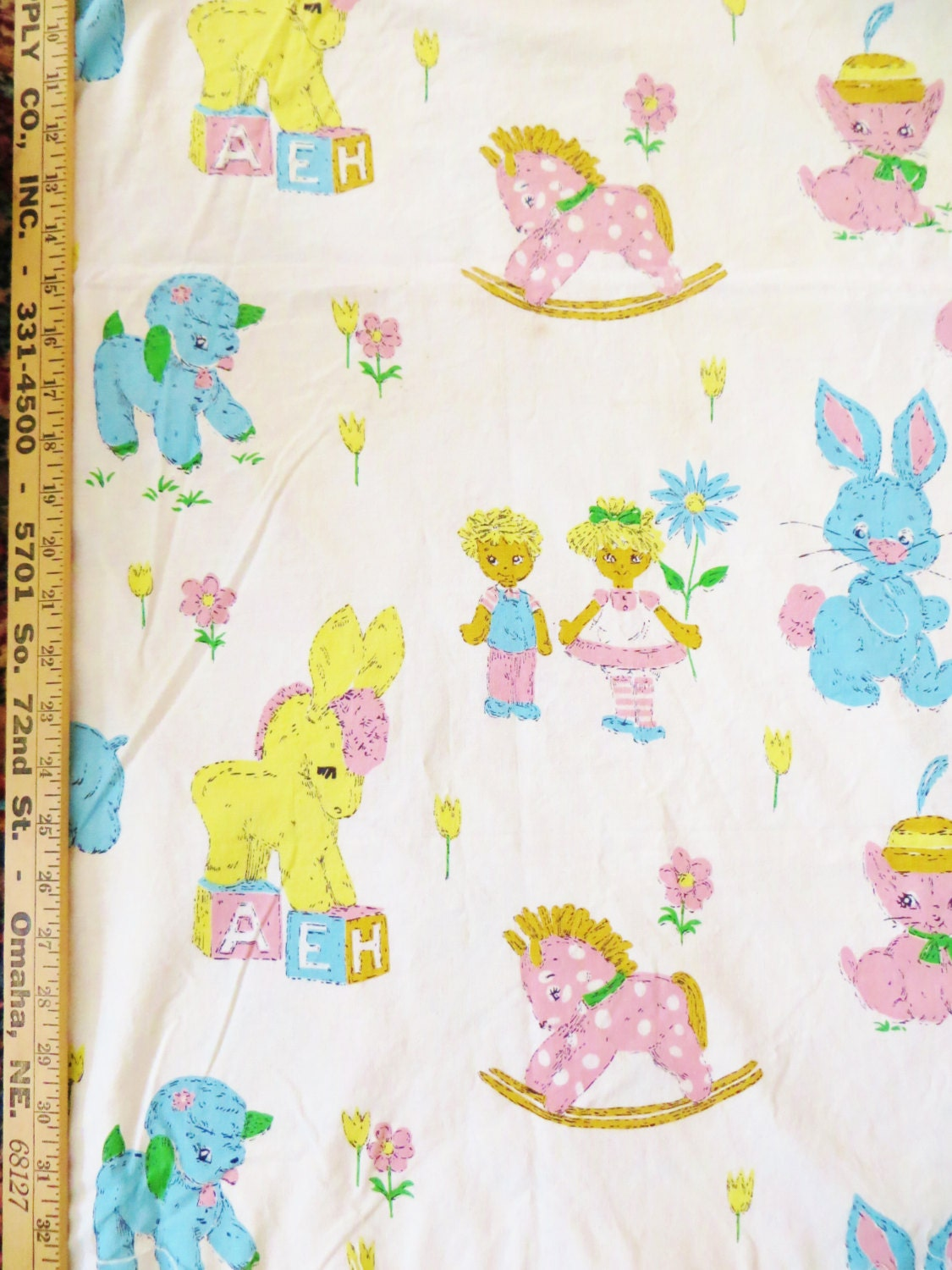 Vintage 50s juvenile novelty fabric indian head cotton for Vintage childrens fabric