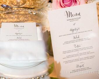 Custom Wedding Menus w Names & Date - Rehearsal Dinner Menu Cards - Place Setting Calligraphy Dinner Menus (Set of 100) SS07